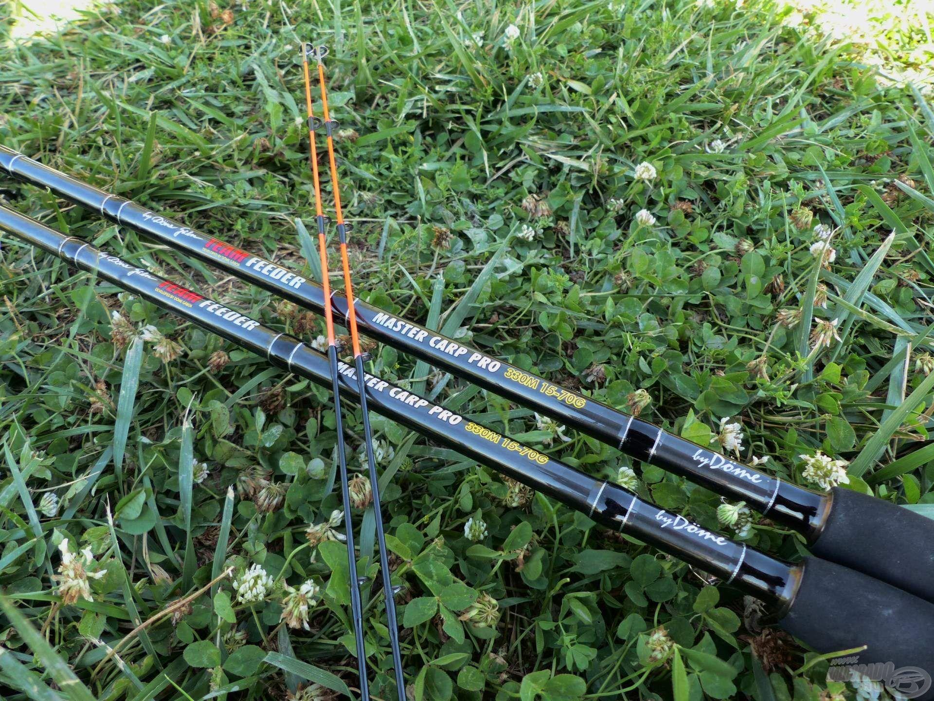 Kettő egyforma, igazán finom botocskát használtam: a By Döme TEAM FEEDER Master Carp Pro 330M típusjelzésű feedereket