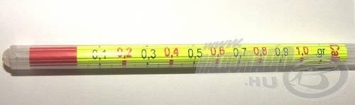 A Calibration megoldás. 0,05 grammos osztások követik egymást, egészen 1 grammig