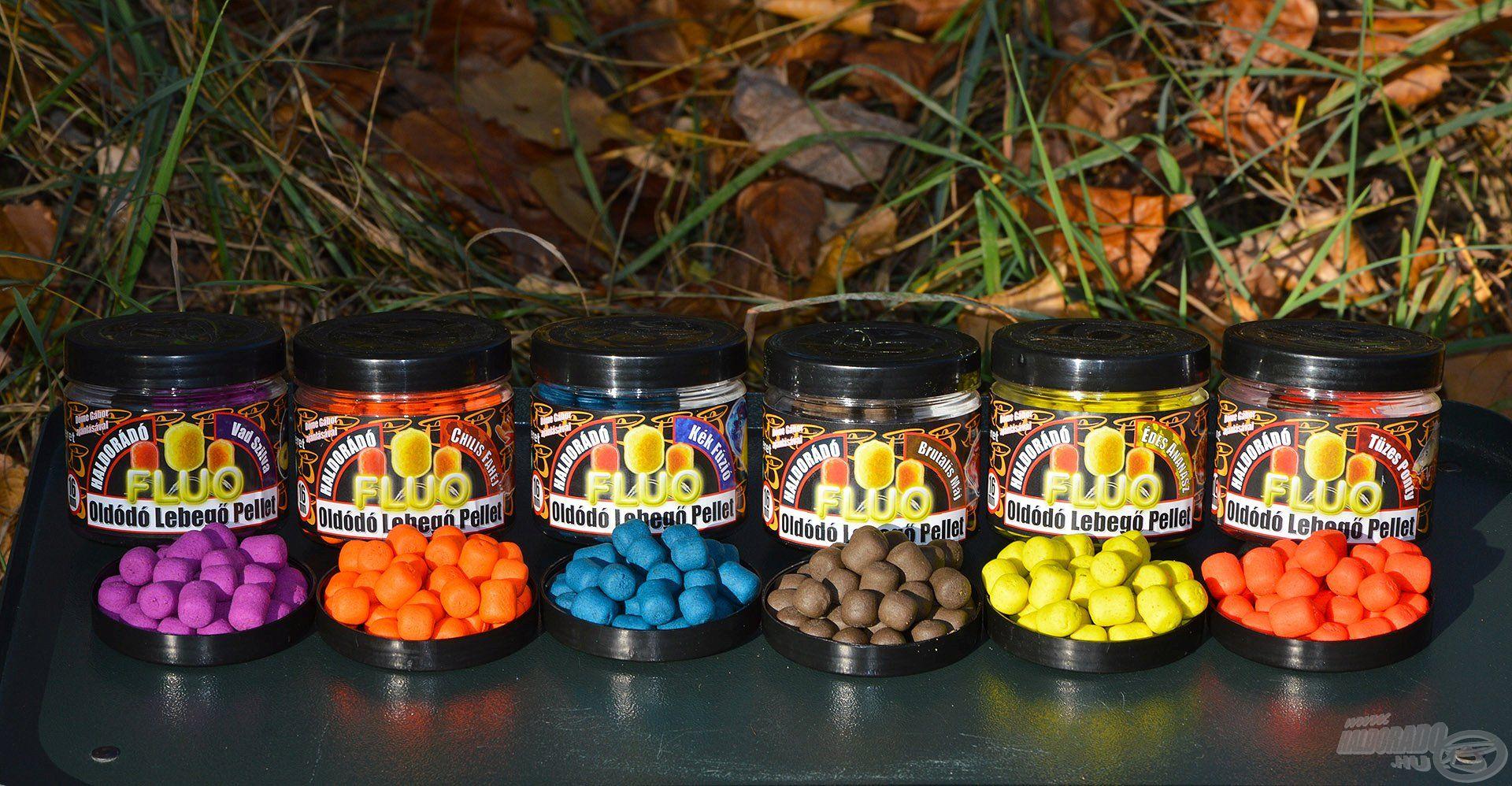 A Haldorádó Oldódó Fluo Lebegő Pellet család minden időszakra és vízterületre kínál fogós alternatívát színben és ízesítésben egyaránt!