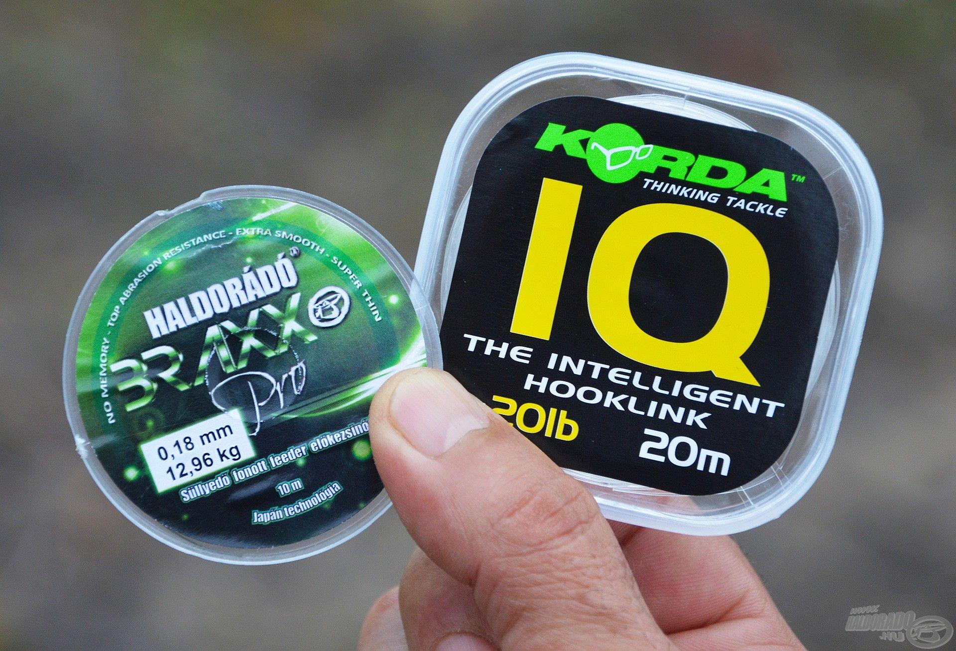 """A Korda IQ fluorocarbon 20 lbs változata és a 0,18 mm-es Braxx Pro süllyedő fonott szuper alapanyagok egy """"feederes combi rig"""" elkészítéséhez"""