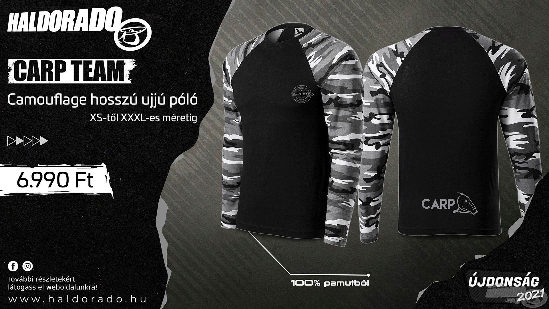 A Carp Team Camouflage hosszú ujjú pólókkal szintén újabb, extra vagány és divatos tagokkal bővült a saját fejlesztésű, Haldorádó ruházataink kínálata!