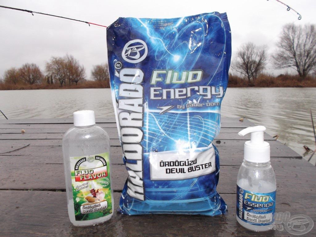 A Fluo Energy Ördögűző etetőanyag kiváló választás egész évben, nehéz vele hibázni, így ezt használtam ezen a horgászaton én is