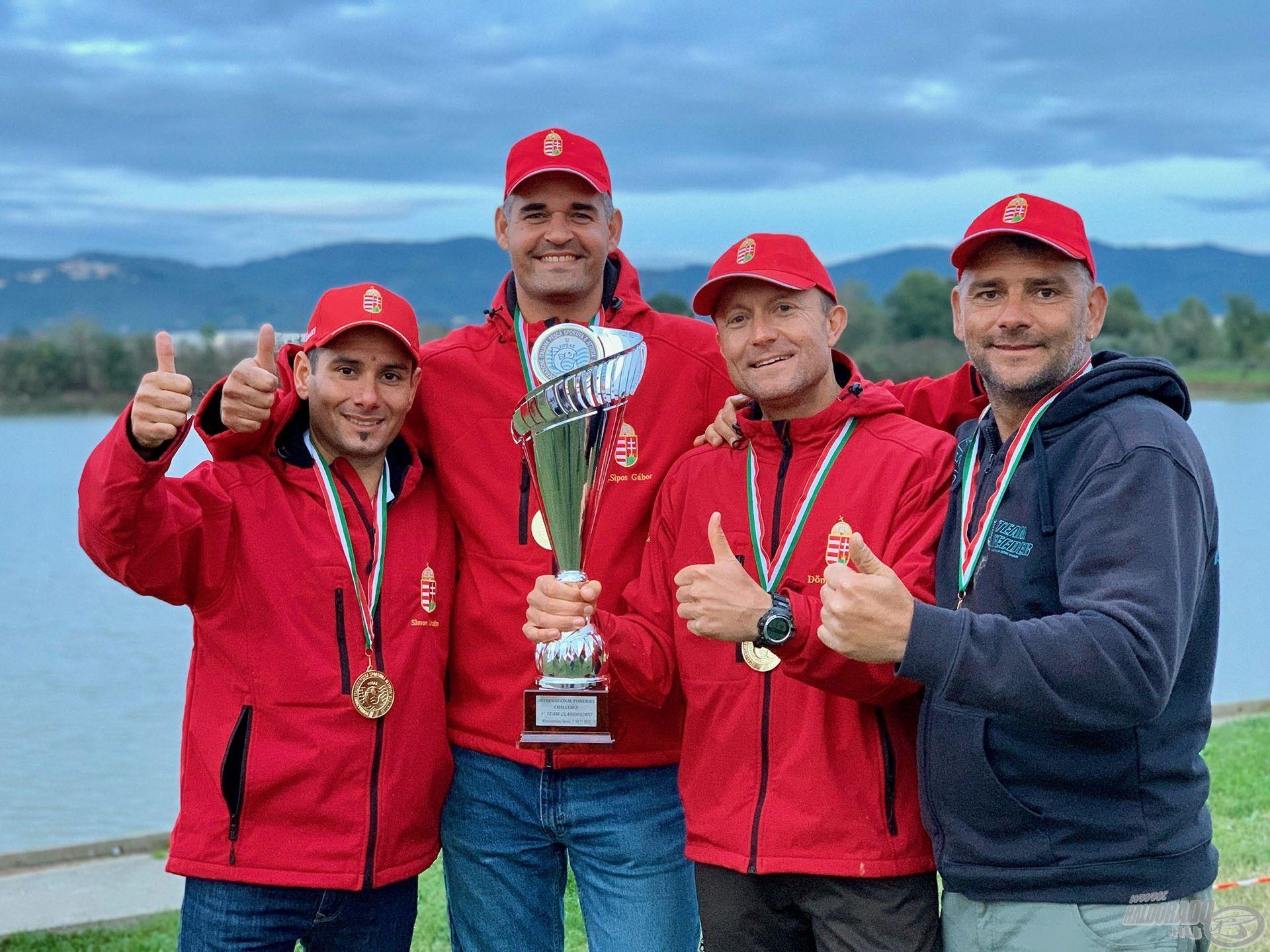 Ősszel ismét aranyérem csilloghatott a nyakukban, mivel az olaszországi I. International Feeder Challenge-en is bajnokok lettek a magyar válogatott színeiben