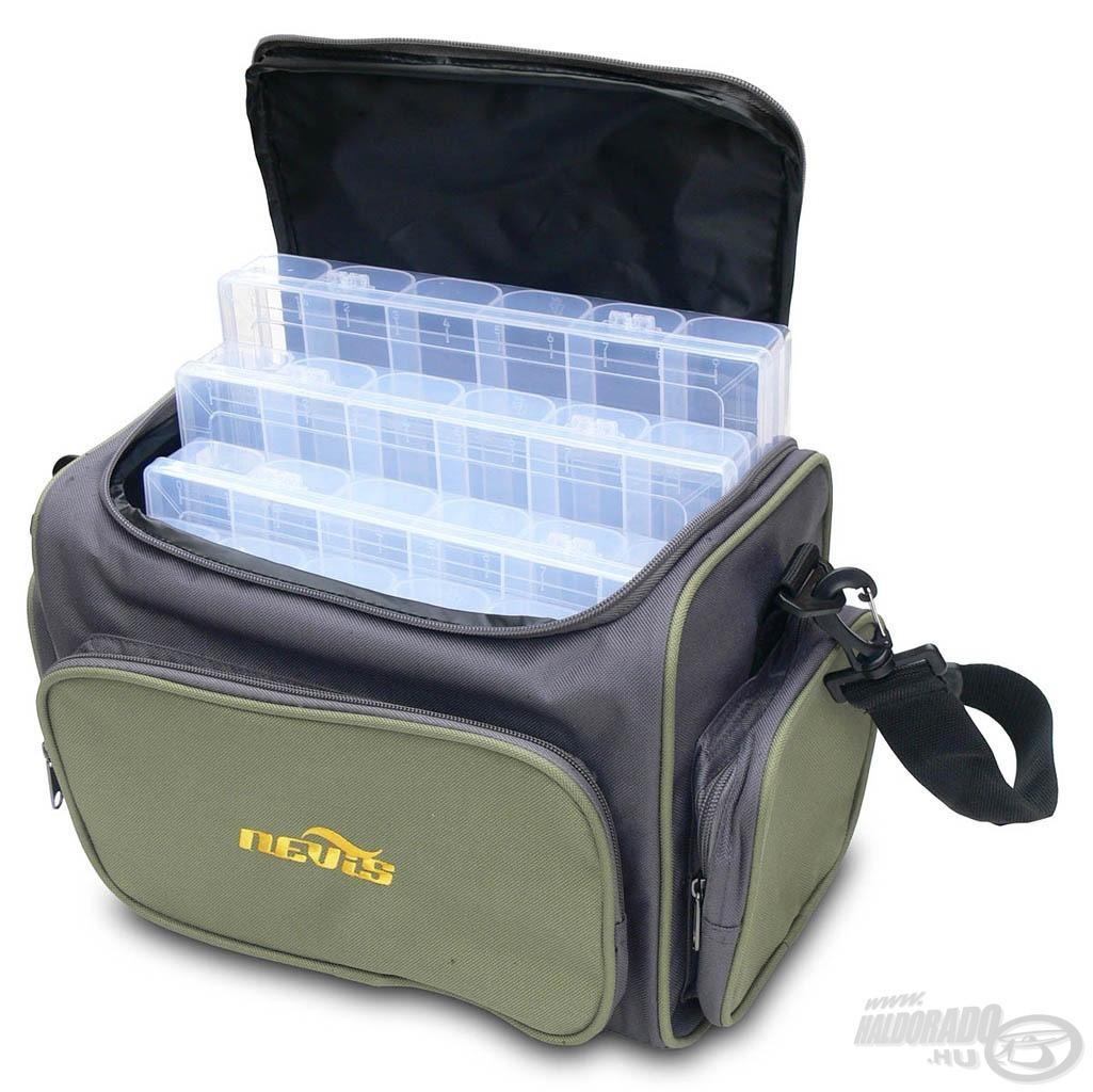 Ez a táska sok műcsali rendezett tárolását biztosítja