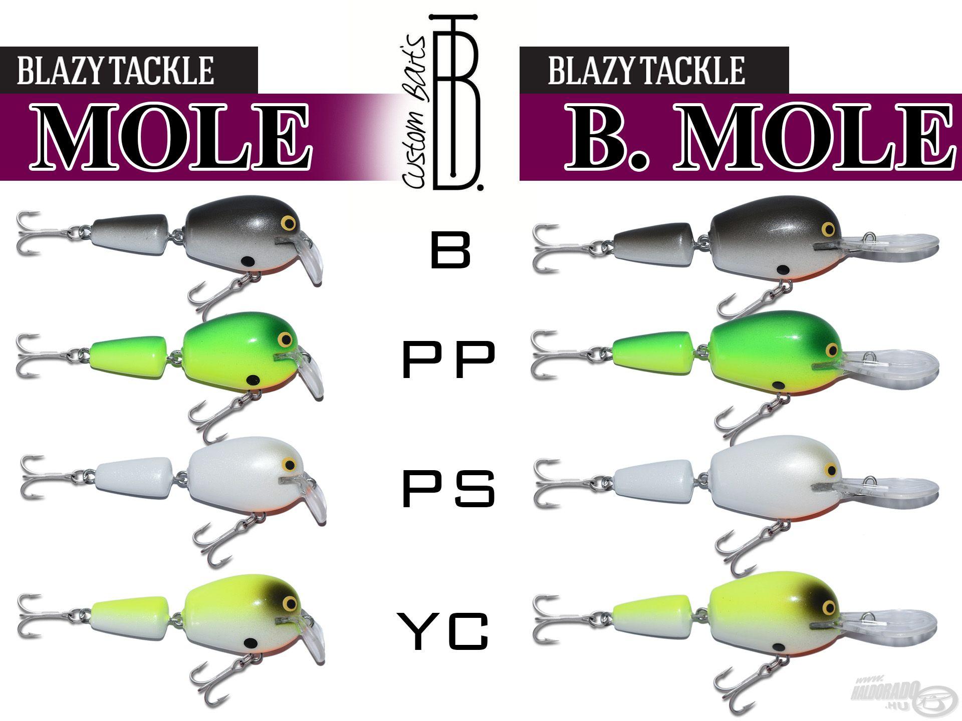 Az alábbi színekben érhető el a Mole és a B. Mole wobbler