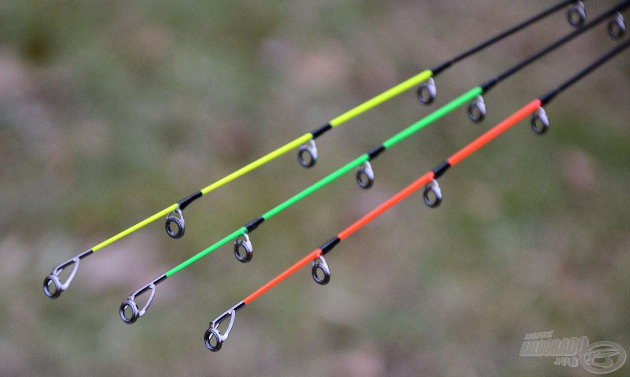 Minden feederbothoz 3 különböző erősségű spicc jár. A legerősebb a piros (heavy), a közepesen erős a zöld (medium), míg a sárga végű (light) a leglágyabb spicc