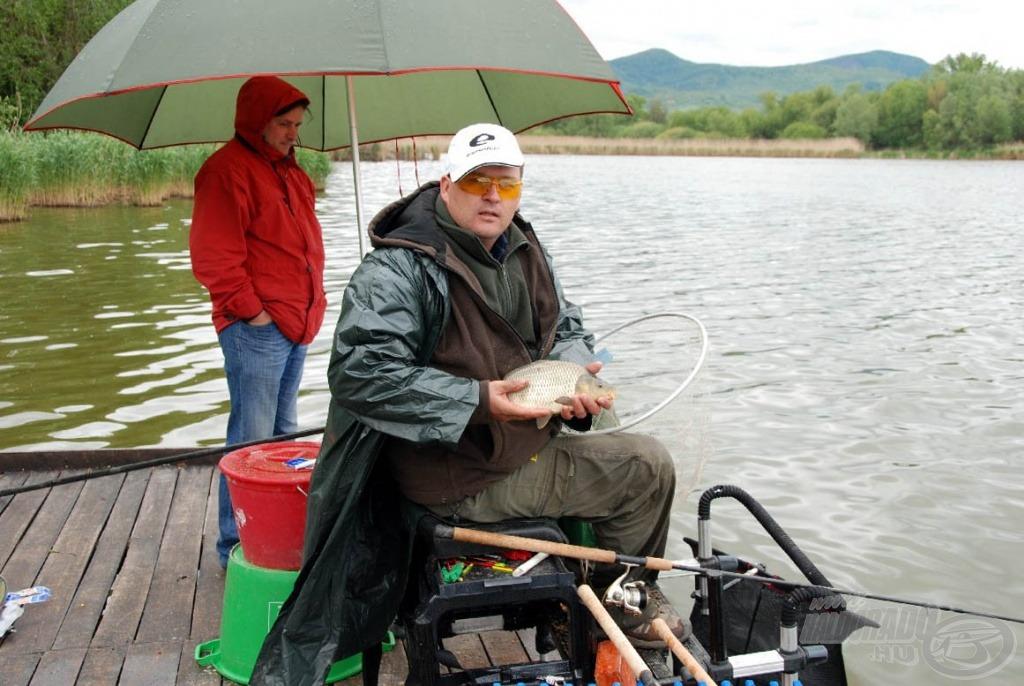 Az 1-es - szélső - helyen horgászó Nagy Albert javarészt a kisebb pontyokkal növelte szákja tartalmát