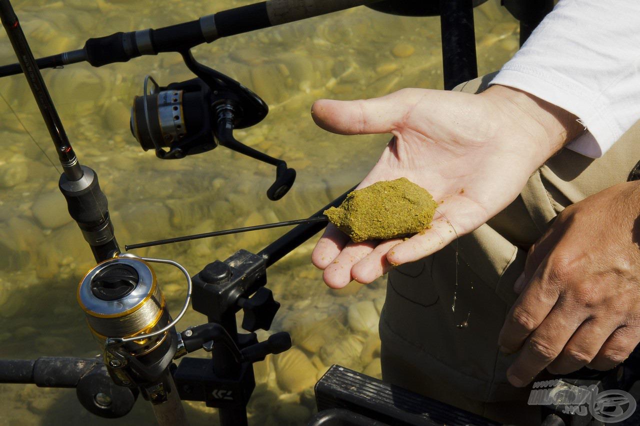 A 35 grammos kosár megtöltve kb. 70-80 gramm, mellyel akár 50-60 méter távolságban is biztonságosan és pontosan horgászhatunk