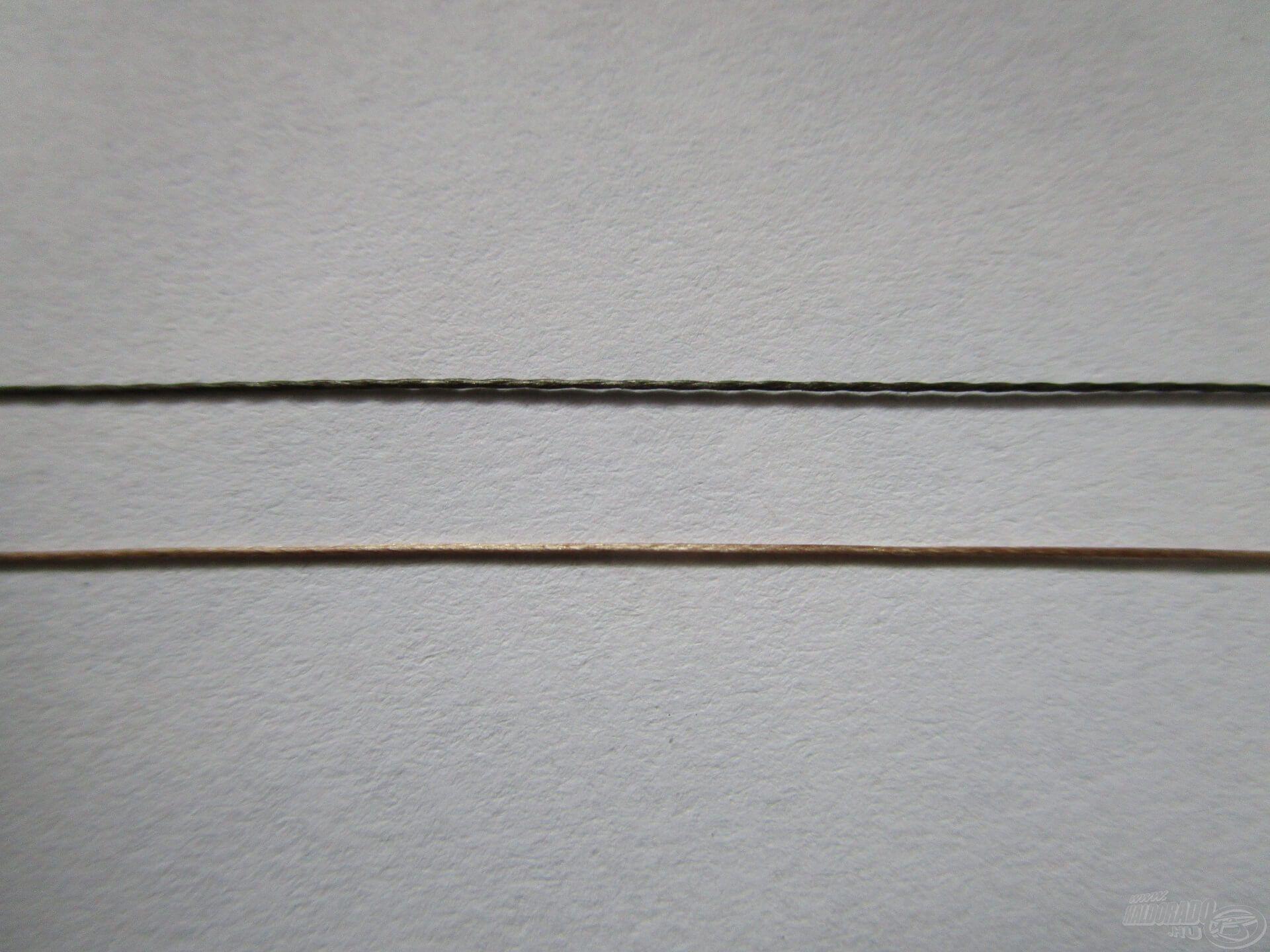 E képen alul a 16-os Haldorádó BRAXX Long Cast látható, felette pedig egy olcsóbb 15-ös fonott zsinór