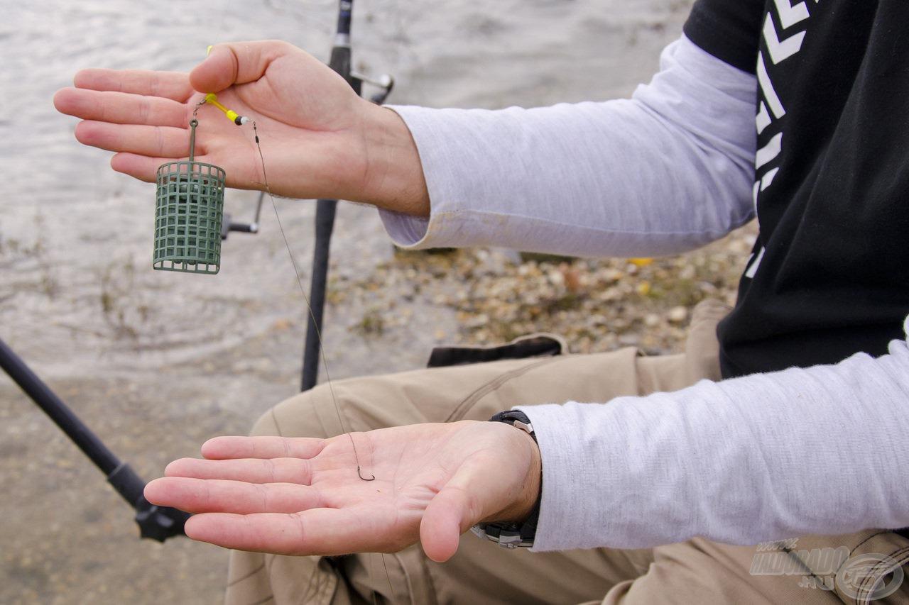3 oz súlyú folyóvízi etetőkosár és fonott horogelőke alkotta a végszerelékemet