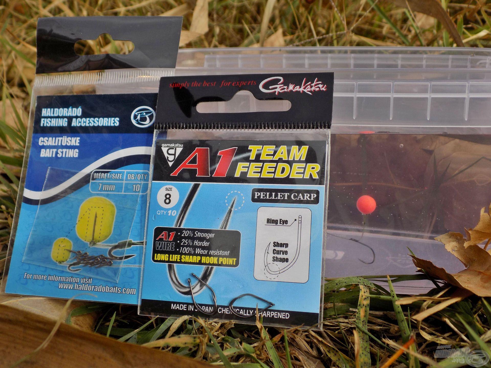 Kisméretű csalikhoz szívesen használom a vékonyhúsú, könnyű Gamakatsu A1 Team Feeder - Pellet Carp horgot 7 mm-es csalitüskével kiegészítve. Pici csalikhoz, hideg vízben remek megoldás!