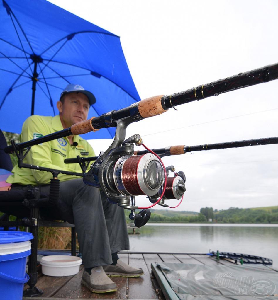 A dobások és a horgászat során is a Spro Team Feeder Special LCS 550M orsókat használtam 20-as monofil főzsinórral és 20-as fonott dobóelőkével