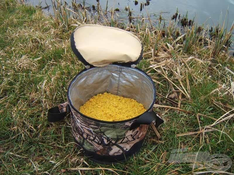 Az egy kiló bekevert etető egyharmad részéig tölti ki az etetőkeverőt