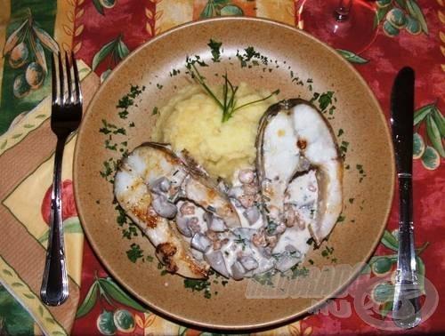A megsütött fogas szeletekre ráhalmozzuk a kész ragut, és burgonyapürével tálaljuk. A megmaradt, finom olaszrizlingünk remekül fog passzolni a kompozíciónkhoz. Jó étvágyat!