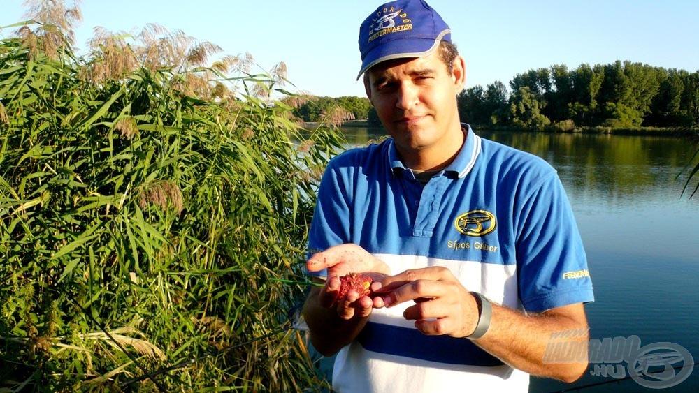 Az alapozáshoz nem gyúrtam nagy gombócokat, ki tudja, hogyan reagálnak a csobogásra a halak