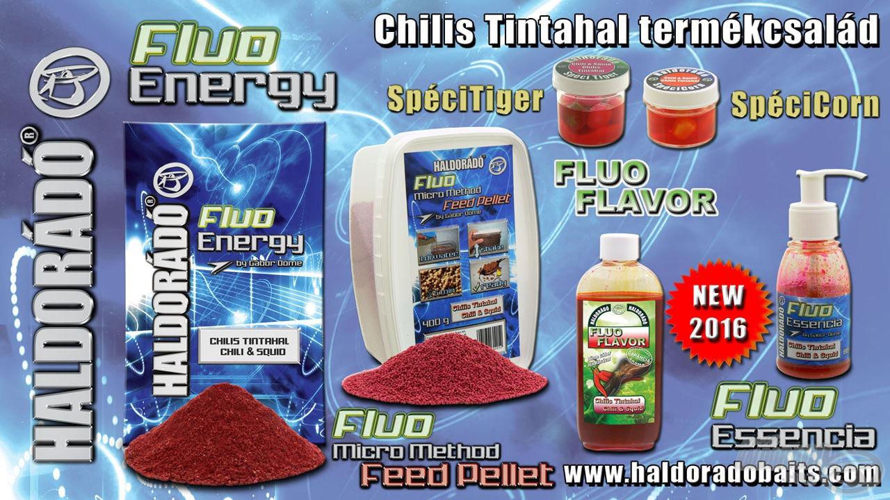 A teljes chilis tintahal ízesítésű Fluo Termékcsalád