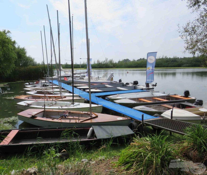 A kikötőben vitorlások és horgászcsónakok sorakoznak