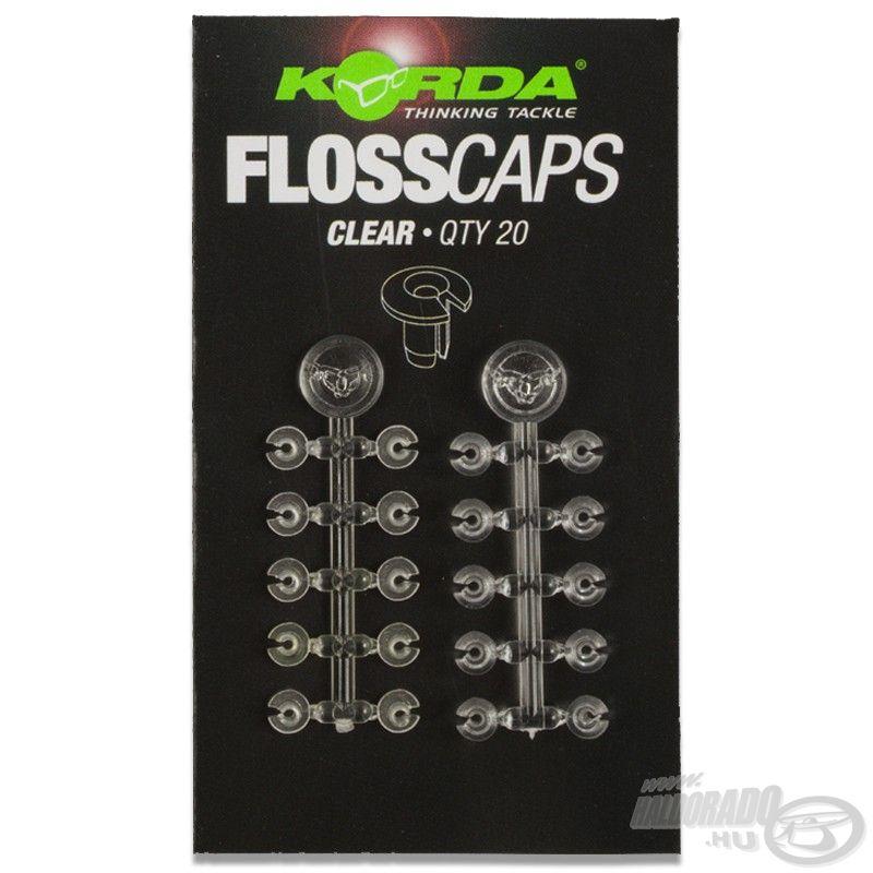 A Korda Floss Caps segítségével a legegyszerűbben és legbiztonságosabban rögzíthető a csali, Bait Floss-szal való horgászat esetén