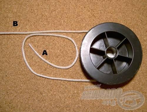 Fogjuk meg az (A) szálvéget és az ábra szerint egy csigavonalat képezzünk belőle