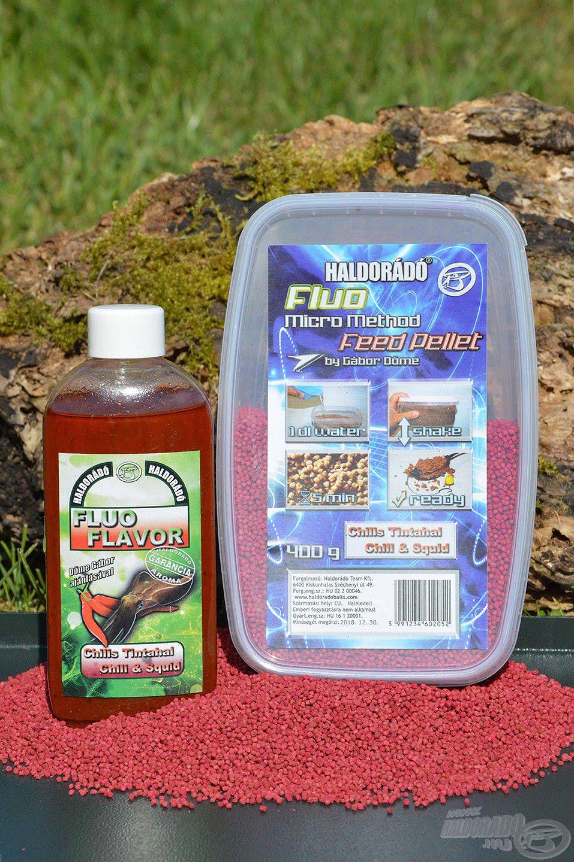 Az egész napi horgászatomhoz elegendő volt egy doboz Chilis Tintahal Fluo Micro Method Feed Pellet, némi ízazonos Fluo Flavor aromával tuningolva
