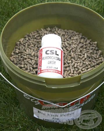 A vödrös, 3 kg-os kiszerelésű Big Fish pelletben kukoricacsíra likőr is megtalálható. Ha a pelletet beáztatjuk ebbe a likőrbe, egy rendkívüli csalogató hatással rendelkező etetőanyagot kaphatunk kézhez
