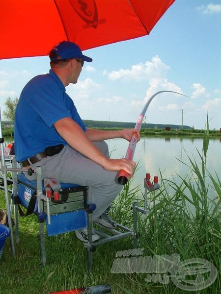 Keményen küzd a hal, az erős pontyos rakós botot is képes volt meggörbíteni! Ekkor gyorsan kiderül, hogy összhangban van-e a gumizás a felszerelés többi elemével