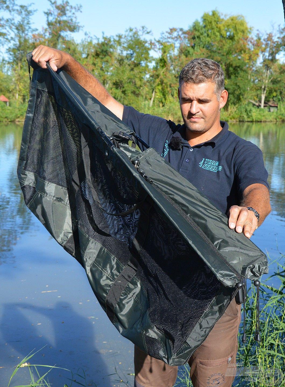 A mérőháló teljesen zárható, így a halak ideiglenes tárolására is alkalmas
