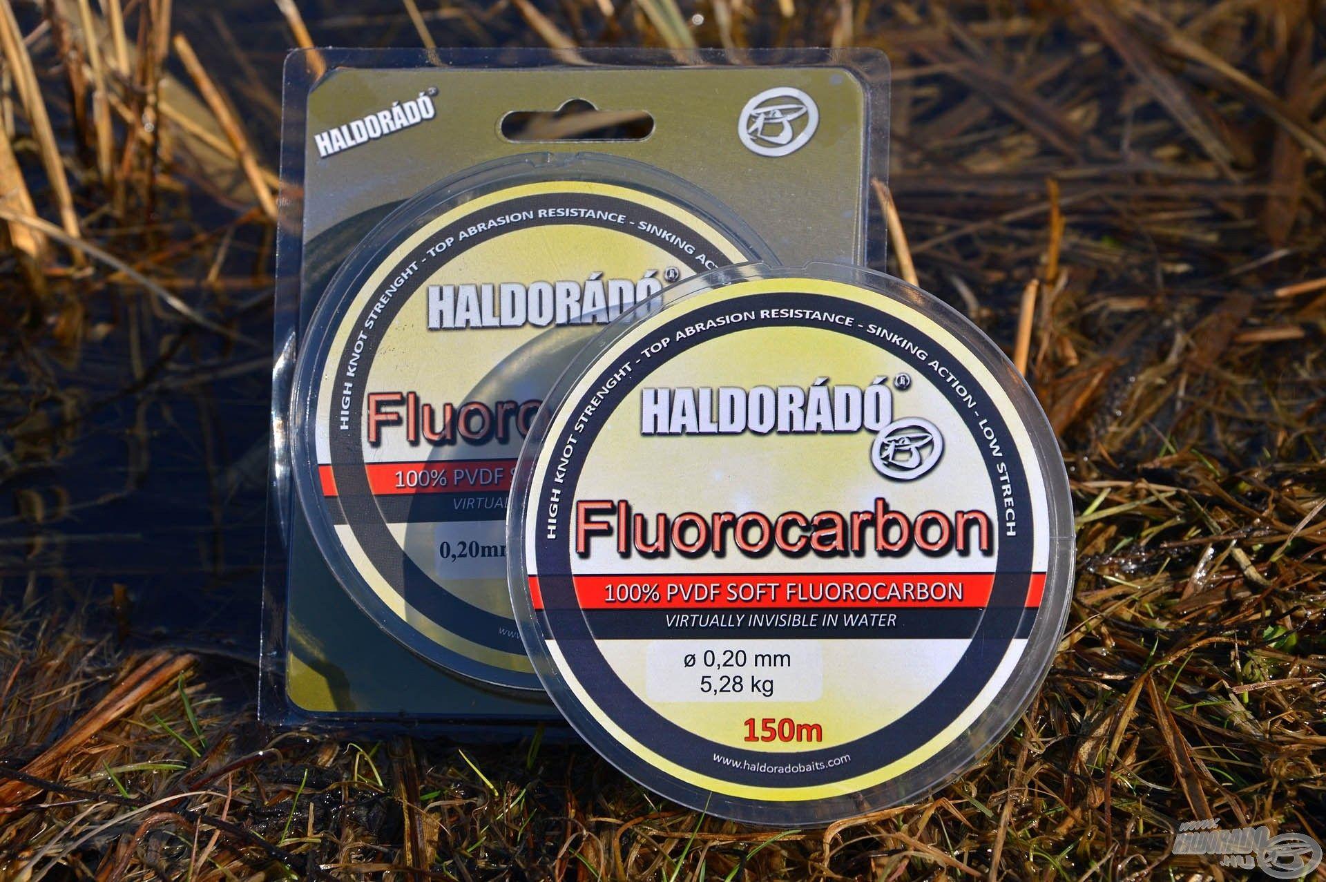 A Haldorádó Fluorocarbon 1,42-es fénytörési indexének köszönhetően szinte láthatatlan a vízben