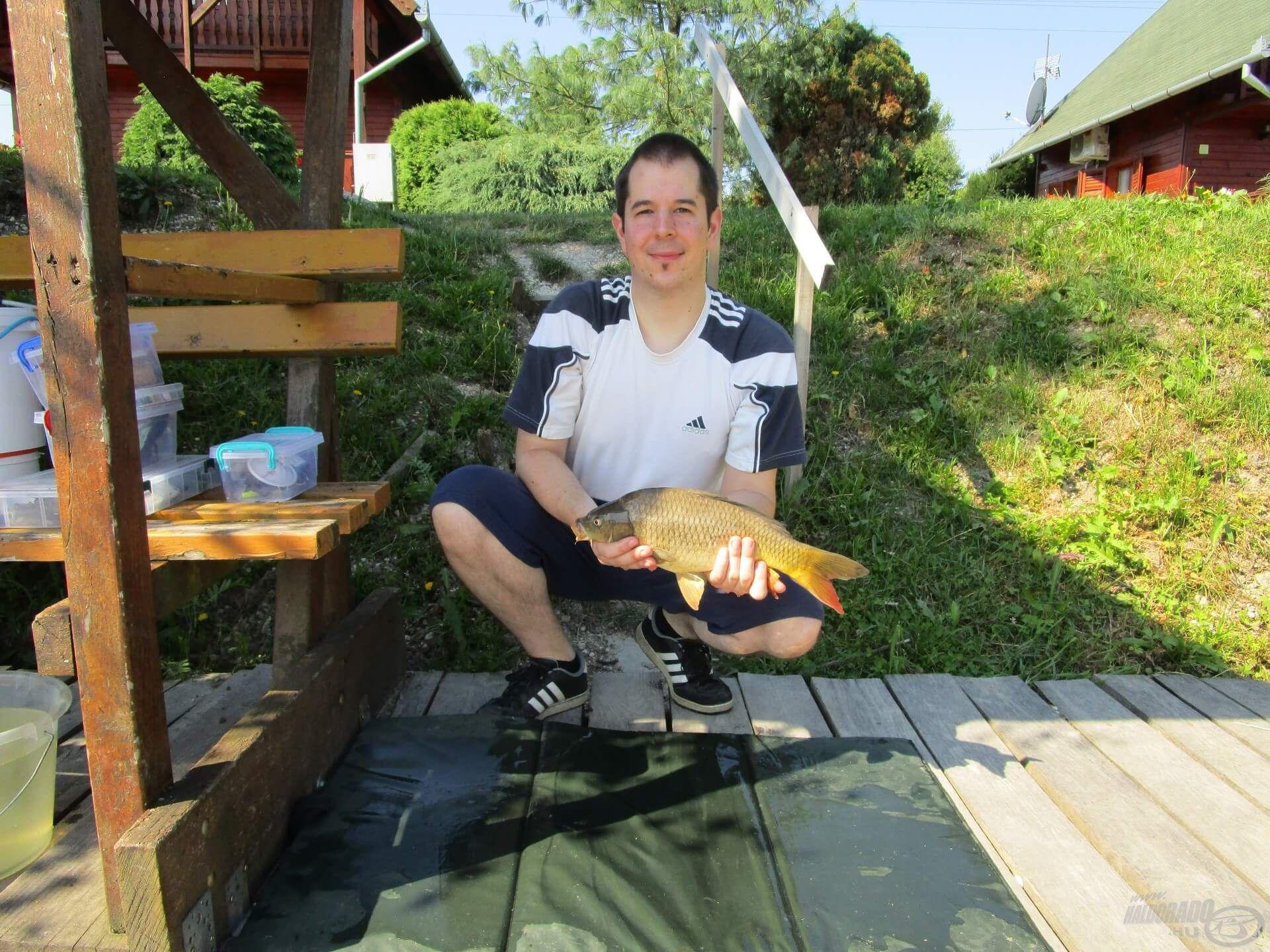 Szép színekben pompázott a pontyocska, de bíztam benne, hogy sikerül majd szelektálni a nagyobb halakat
