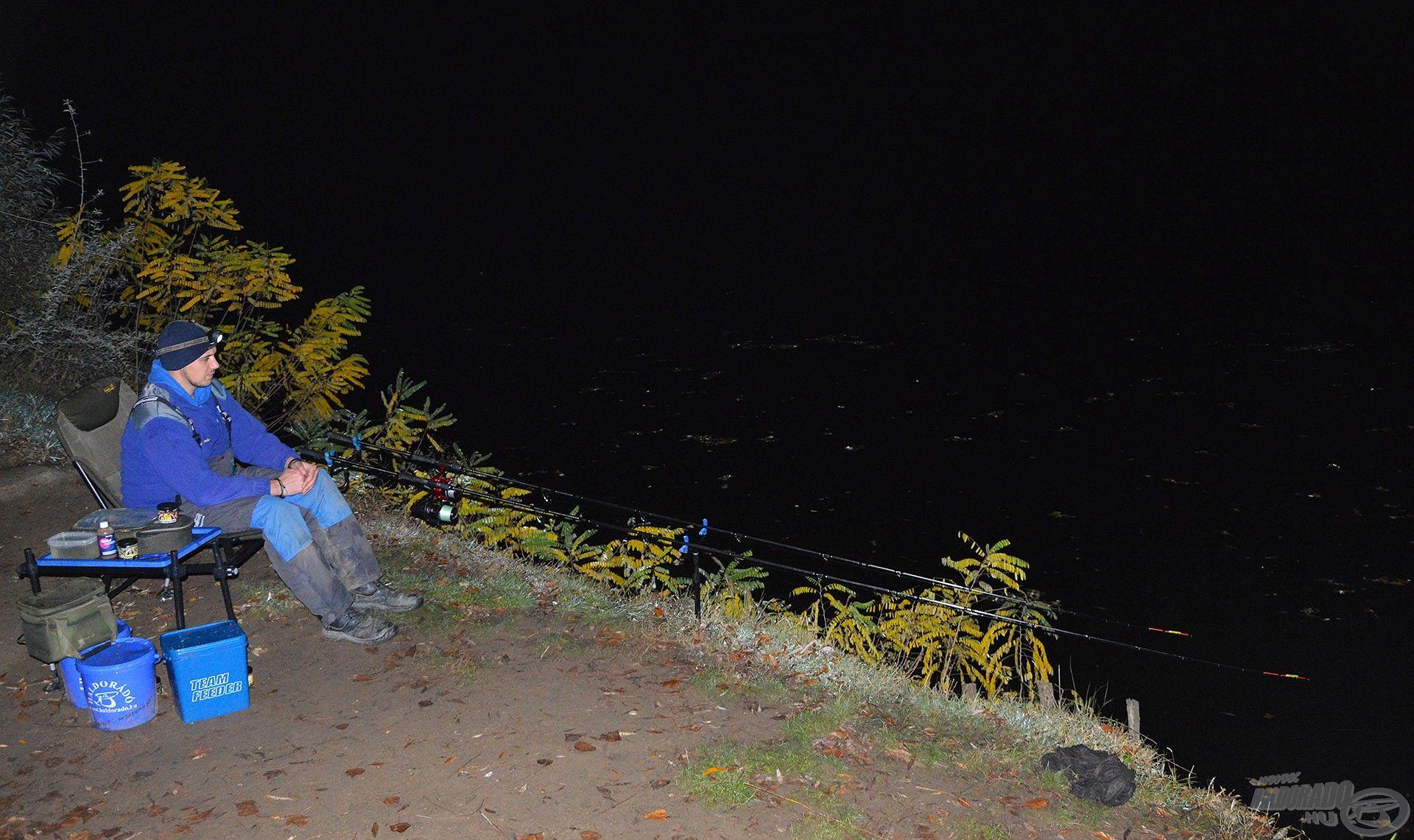 Éjszakára alaposan lehűlt a levegő, mégis élvezet a spiccek mögött ülni és várni a következő kapást, a halak pedig szerencsére nem hagytak unatkozni!