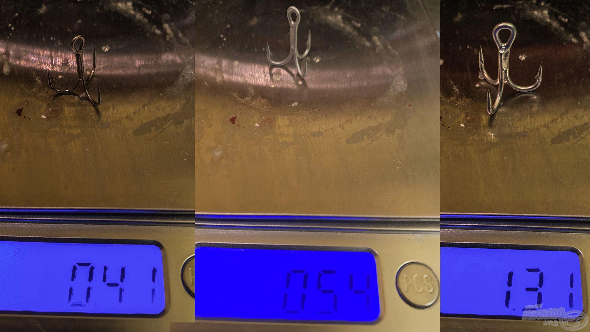 3 jó horog, amihez 3 eltérő súly párosul