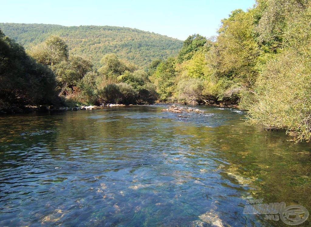 Az Unac folyó, háromnapos horgászatunk színhelye