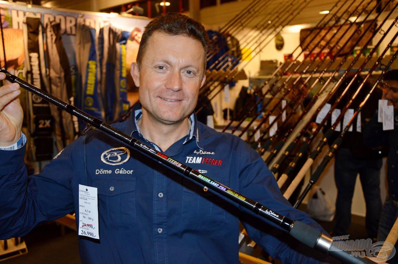 """Döme Gábor: """"A legtöbben a megújult by Döme Team Feeder Master Carp Pro Long Cast botok iránt érdeklődtek. Hosszú kihagyás után kaphatóak újra ezek a botok, így a legtöbben vásároltak is belőle"""""""