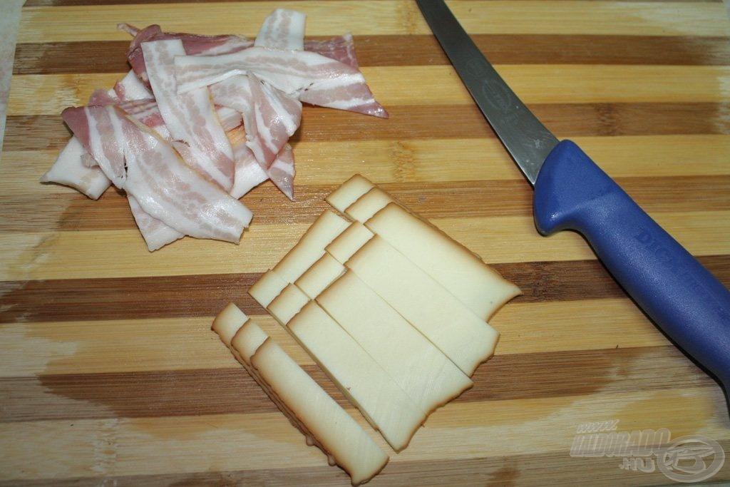 Vékony szeletekre vágtam a szalonnát és a füstölt sajtot