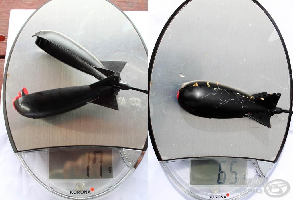 Mérlegre téve jöttem rá, hogy ezt gyengébb feederbotokkal is simán el lehet dobni, bal oldalon az üres, jobb oldalon a töltött rakéta