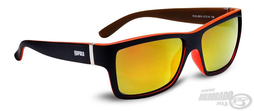 Íme, a Sportsman's UVG-287A napszemüveg, fekete és bordó színű kerettel, valamint szürke színű, narancssárgásan tükröződő bevonatú lencsével