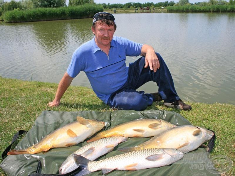 Tóth József 1 óra leforgása alatt 5 igen termetes halat fogott