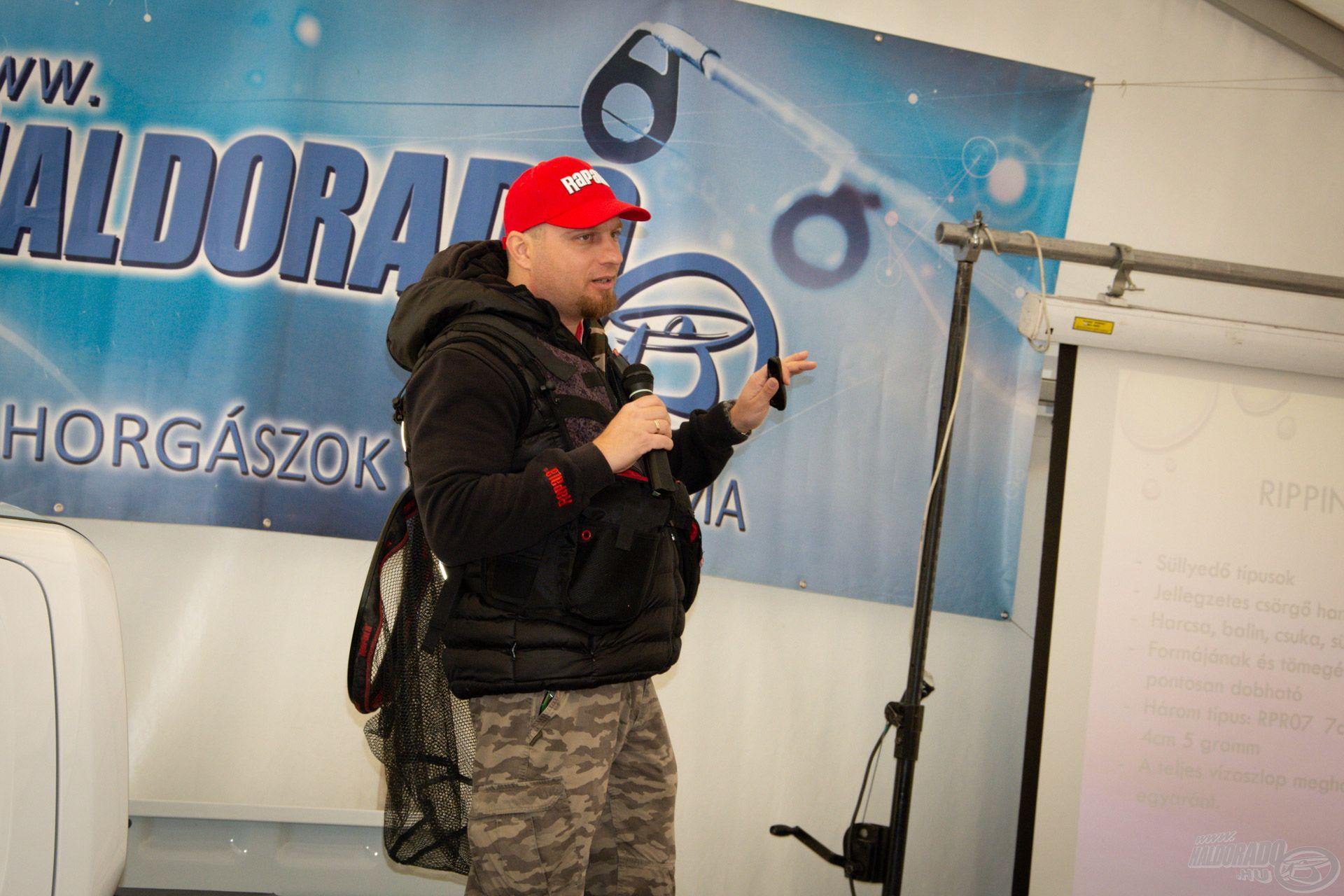 Kecskés Viktor a finom pergető horgászat témakörében osztott meg hasznos tapasztalatokat a színpadon