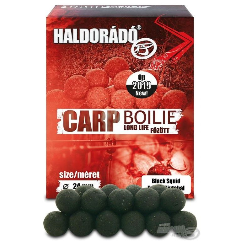 HALDORÁDÓ Carp Boilie főzött - Fekete Tintahal 24 mm
